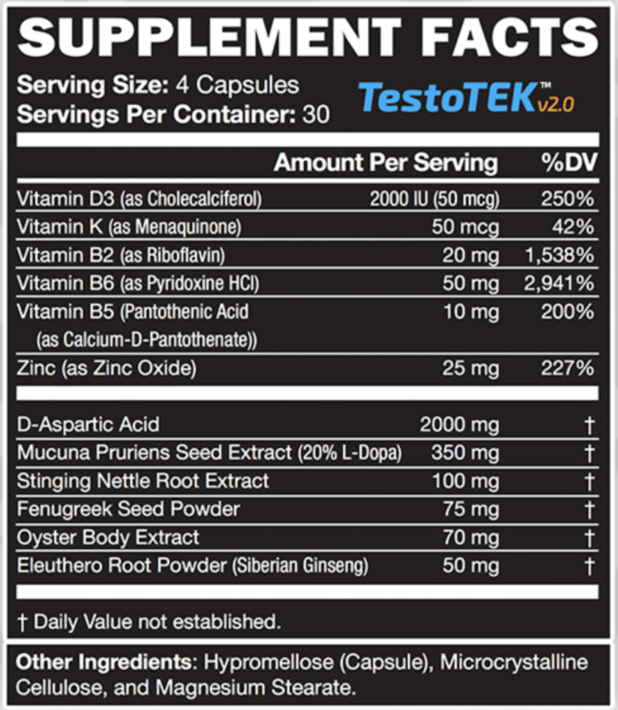 testotek ingredients